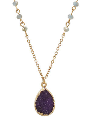 Taylor Druzy Teardrop Delicate Necklace
