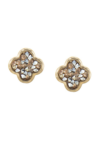 Jan Crushed Druzy Clover Stud Earrings