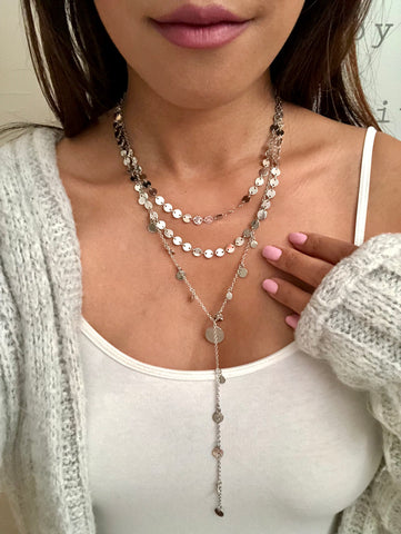 Coley Multilayered Coin Y Necklace