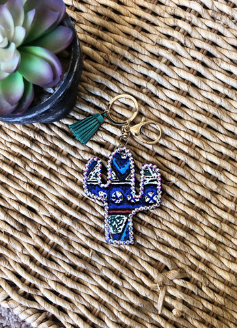 Feelin' Prickly Rhinestone Studded Serape Key Chain