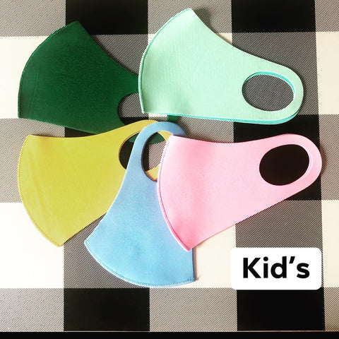 Kid's Solid Poly Face Mask - 7 colors