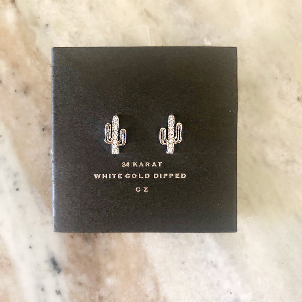 Mesa White Gold Dipped Cactus Stud Earrings