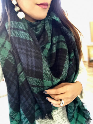 Crewe Hunter Green and Navy Blue Plaid Blanket Scarf