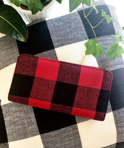 Red Buffalo Check Plaid Zipper Wallet