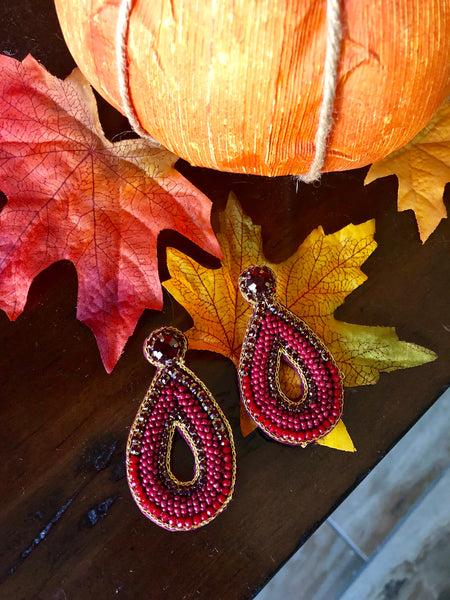 Felicia Red Beaded Teardrop Statement Earrings