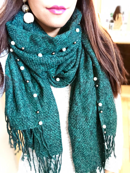 Everest Faux Pearl Trim Scarf