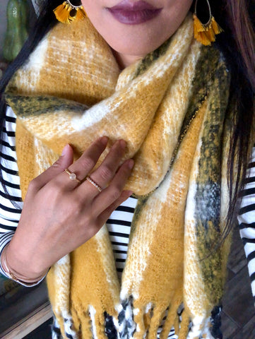 Benton Mustard Yellow Plaid Scarf