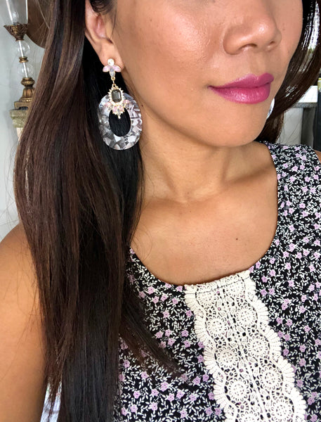 Claudia Floral Oval Statement Earrings