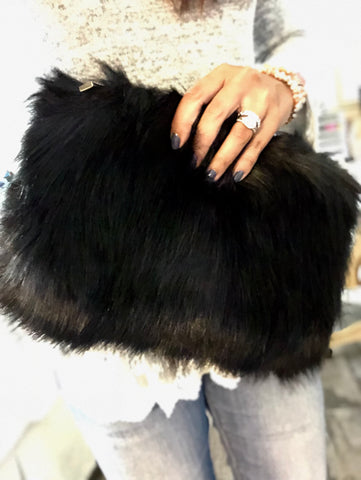 Minx Black Faux Fur Clutch Bag