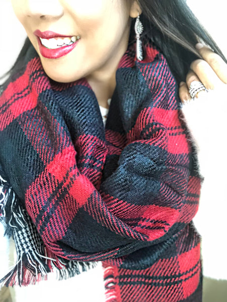 Sam Red Plaid Reversible Scarf