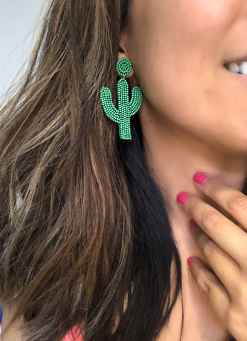 Tubac Beaded Cactus Statement Earrings