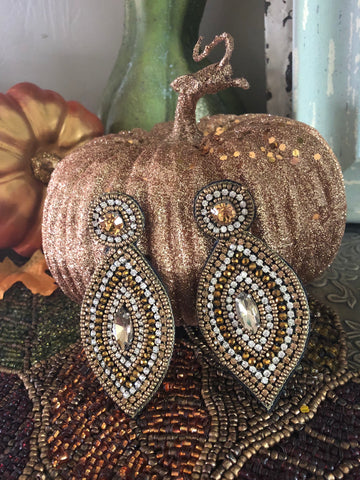 Tribecca Golden Beaded Statement Earrings