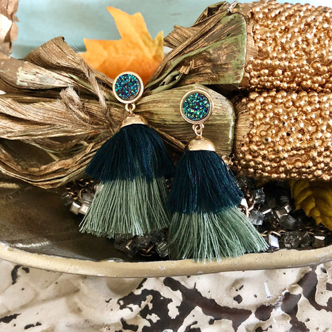 Aida Green Druzy Tassel Earrings