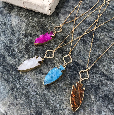Niko Druzy Arrowhead Pendant Necklaces