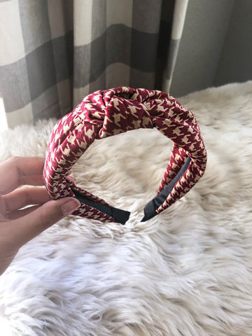 Grace Burgundy and Khaki Houndstooth Headband