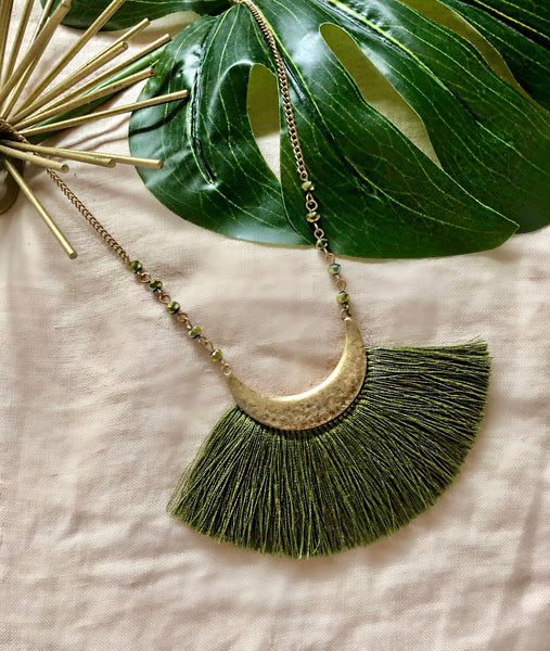 Lunes Crescent Tassel Long Necklace
