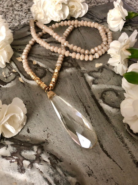 Ophelia Beaded Crystal Teardrop Long Necklace
