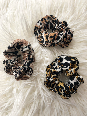 Animal Print Chiffon Hair Scrunchie