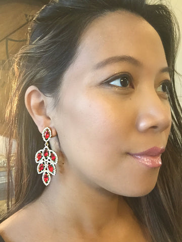 Miriam Red Crystal Earrings