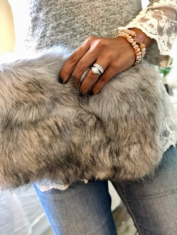 Minx Faux Fur Clutch Bag