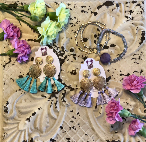Lillee Ornate Metal Statement Tassels
