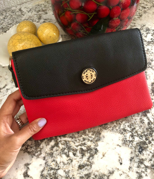 Calista Two-Tone Envelope Clutch Crossbody Bag