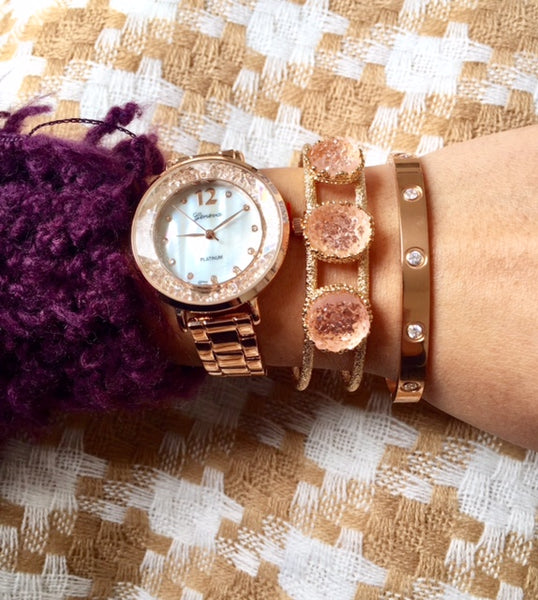 Isabel Rose Gold Floating Crystal Watch