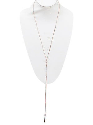 Jenna Crystal Pave Metal Bar Y Necklace