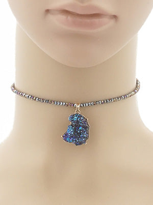 Juliet Chunky Druzy Beaded Choker Necklace