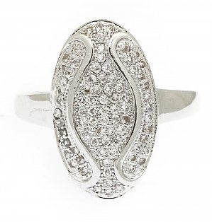 Kiera Oval Cubic Zirconia Art Deco Ring