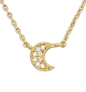 Luna Gold CZ Moon Necklace