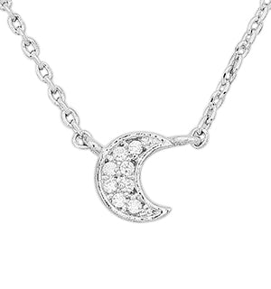 Luna Cubic Zirconia Delicate Moon Necklace