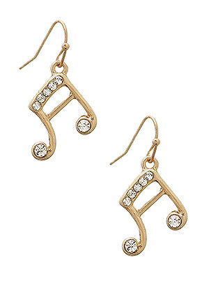 Melody Musical Note Crystal Earrings