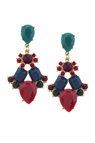 Zandra Multicolor Stone Statement Earrings