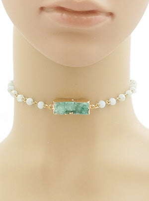 Kelly Green Druzy Stone Choker