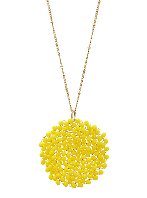 Poppy Yellow Swirl Bead Necklace
