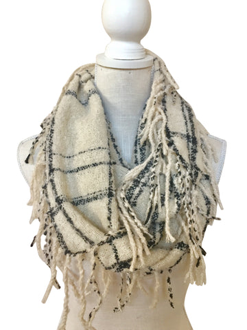Reed Plaid Supersoft Infinity Fringe Scarf