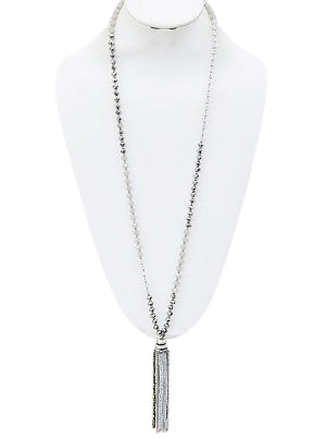 Saylor Silver Beaded Tassel Necklace