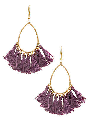 Caren Teardrop Tassel Statement Earrings