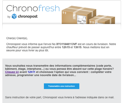 mail information de passage Chronofresh