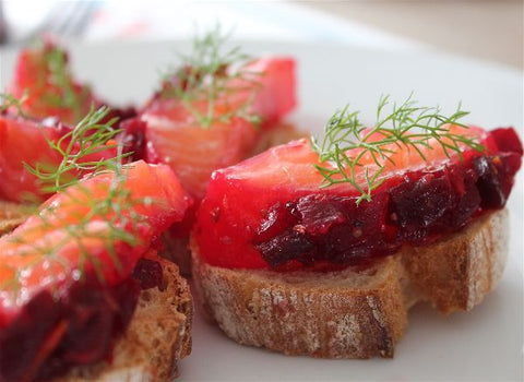 toast saumon gravlax betteraves