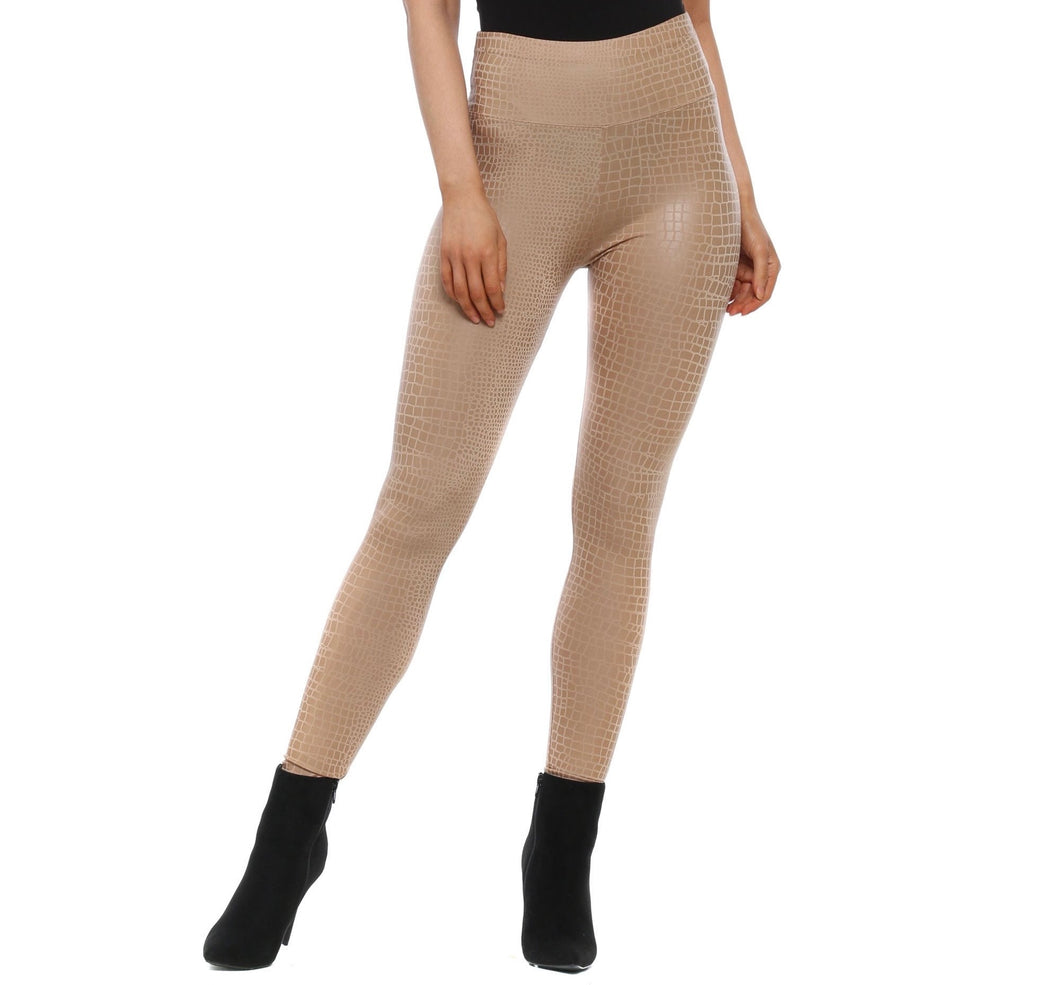 Camel Croc Pu Leggings