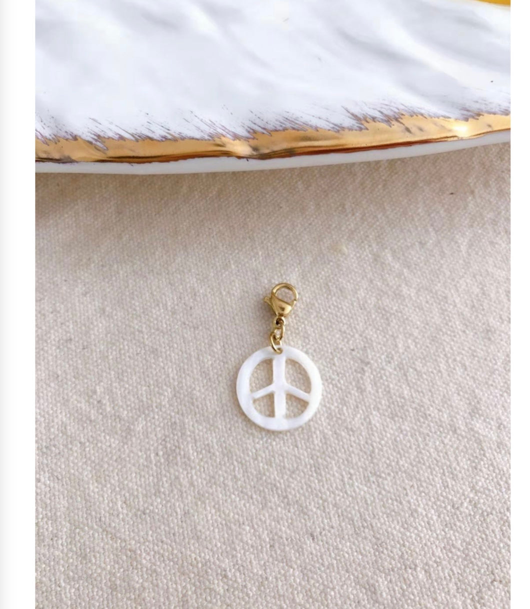 White Pearlised Peace Charm