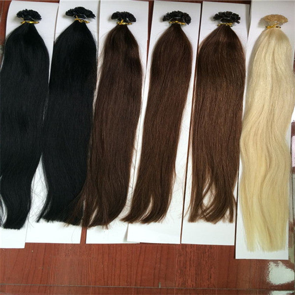 Pre Bonded Keratin Flat Tip Indian Hair Extension Double Drawn