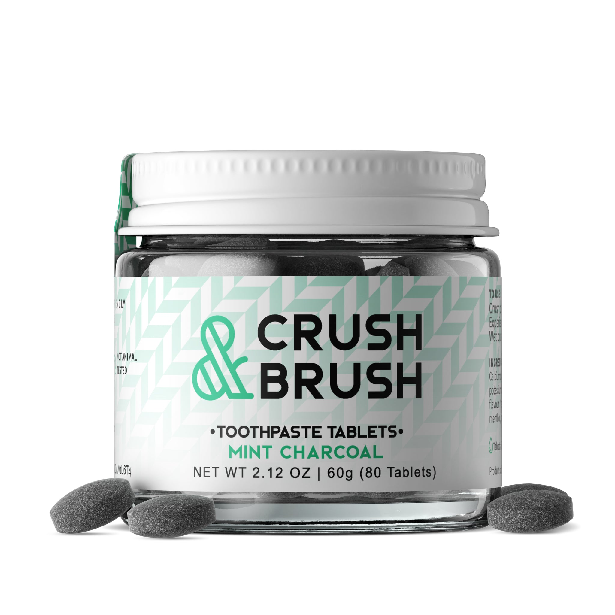 Crush & Brush Mint CHARCOAL GLASS JAR - 60g ~ 80 Tablets
