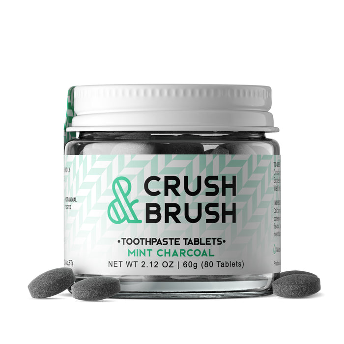 Crush & Brush Mint CHARCOAL GLASS JAR - 60g ~ 80 Tablets  - nelsonnaturals remineralizing toothpaste