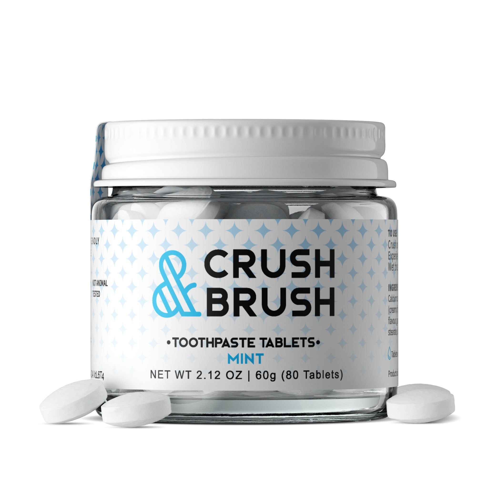 Crush & Brush MINT GLASS JAR - 60g ~ 80 Tablets