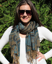 Cashmere luxury scarf green organic
