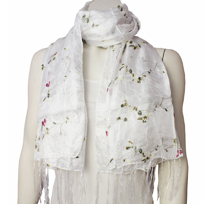 Silk Ladies Scarf Naga white