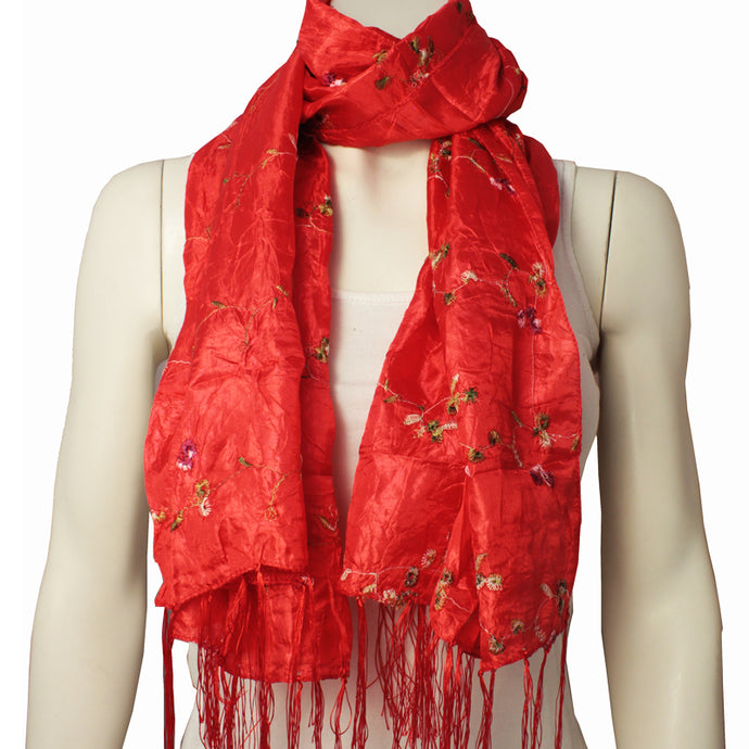 Silk Ladies Scarf Naga red